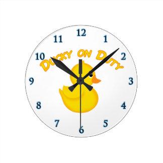 Ducky on Duty Round Clock