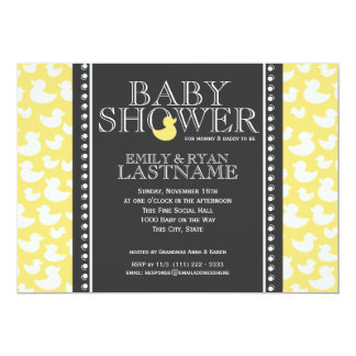 Ducky Pattern Baby Shower 5x7 Paper Invitation Card