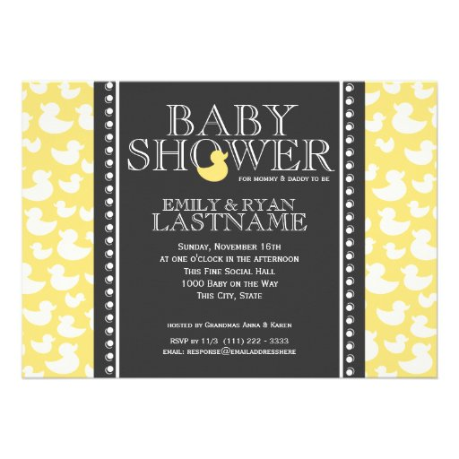 Ducky Pattern Baby Shower Personalized Invite