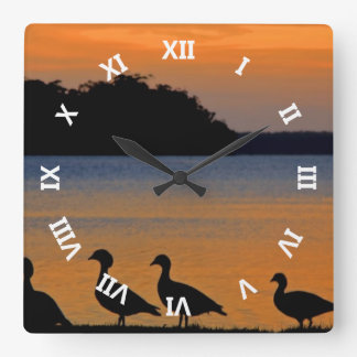 Ducky Sunset Square Wall Clock