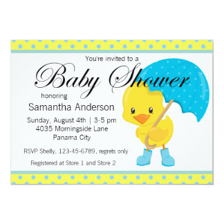 Ducky with Umbrella Baby Shower Card