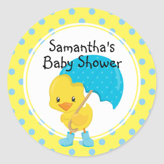 Ducky with Umbrella Baby Shower Classic Round Sticker