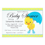 Ducky with Umbrella Baby Shower 5x7 Paper Invitation Card