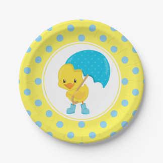 Ducky with Umbrella Baby Shower Paper Plate
