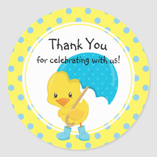Ducky with Umbrella Baby Shower Thank You Classic Round Sticker