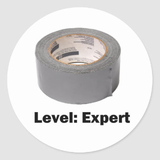 Duct Tape Level Expert Classic Round Sticker