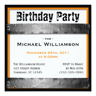 "Duct Tape Square Men's Orange Birthday Invitations 5.25"" Square Invitation Card"