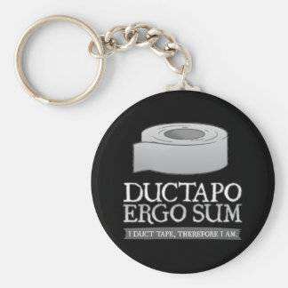 Ductapo Ergo Sum.  I duct tape, therefore I am. Basic Round Button Keychain