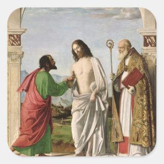 Dudar a Thomas con St. Magnus, c.1504-05 Pegatina Cuadrada