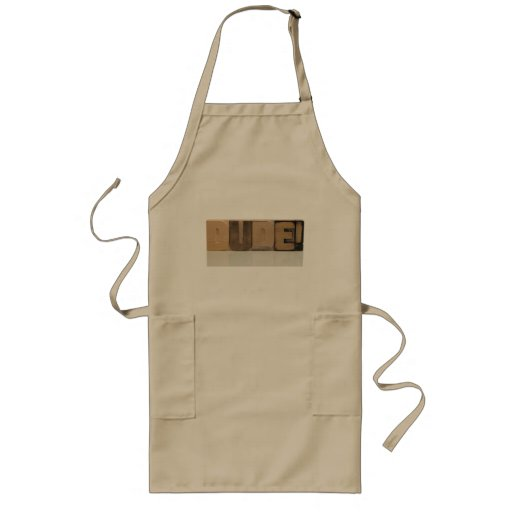 dude! in old wood type long khaki apron