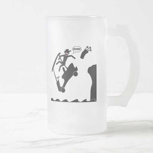 DUDE off the deck-2 16 Oz Frosted Glass Beer Mug