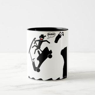 DUDE off the deck-2 Two-Tone Coffee Mug