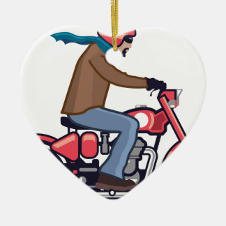 Dude on Motorcycle Ceramic Ornament