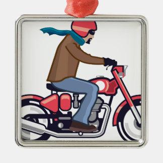Dude on Motorcycle Metal Ornament