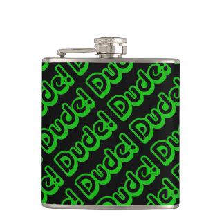 Dude! Pattern Retro 80s Slang Pop Culture Hip Flask