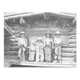 Dude ranch photo of children in cowboy clothes post card