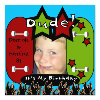 Dude Skateboarding Birthday Invitation