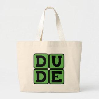 DUDE Slang Bro Funny Four Letter Design Slacker Large Tote Bag