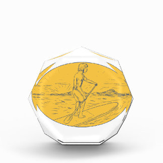 Dude Stand Up Paddle Board Oval Drawing Acrylic Award