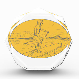 Dude Stand Up Paddle Board Oval Drawing Award