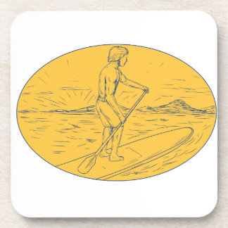 Dude Stand Up Paddle Board Oval Drawing Beverage Coaster