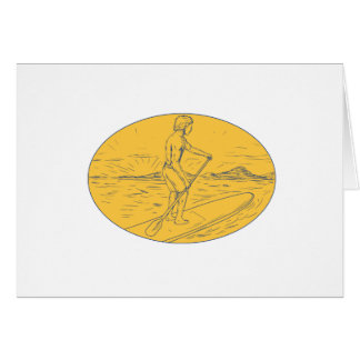 Dude Stand Up Paddle Board Oval Drawing Card