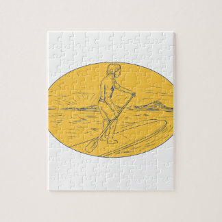 Dude Stand Up Paddle Board Oval Drawing Jigsaw Puzzle