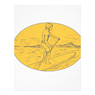 Dude Stand Up Paddle Board Oval Drawing Letterhead