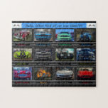 "Dude, What kind of car was that??? Jigsaw Puzzle<br><div class=""desc"">A jigsaw puzzle illustrated with photographs of a variety of exotic cars fro around the world.</div>"