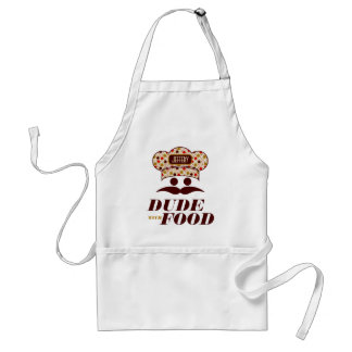 Dude With Food With Chef Hat Monogram 2 Adult Apron