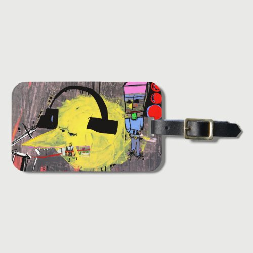 DUDE WITH HEADPHONES luggage tag