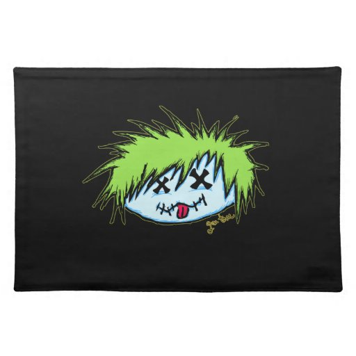 Dude Zombie (on dark background) Place Mats