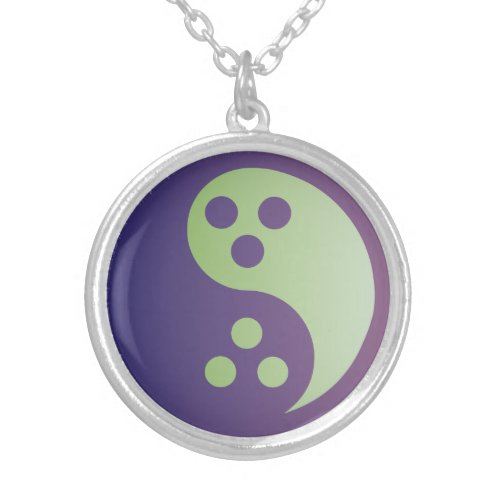 Dudeism Yin-Yang Bowling Ball Silver Necklace
