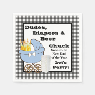 Dudes, Diapers and Beer Daddy Shower Party Napkins Standard Cocktail Napkin