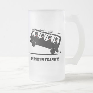 DUDES in transit-2 Frosted Glass Beer Mug