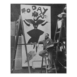 Dudley Hardy painting a poster