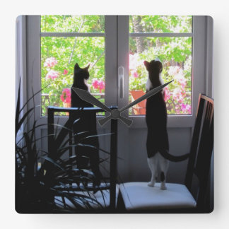 Dudo and Moose at the Window Square Wall Clock