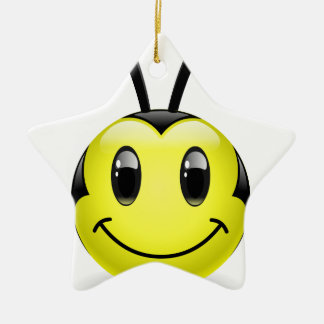 Dudu Bee Smiley Ceramic Ornament
