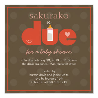 Due Date Baby Shower Invitation