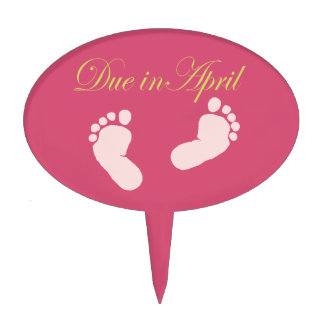 Due in April Baby Feet Design Cake Topper