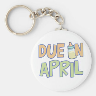 Due In April Basic Round Button Keychain