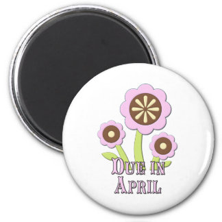 Due in April Expectant Mother 2 Inch Round Magnet