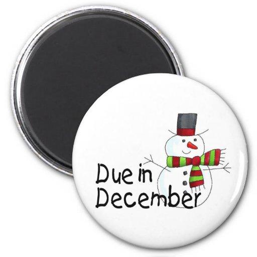 Due In December 2 Inch Round Magnet