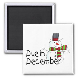 Due In December 2 Inch Square Magnet