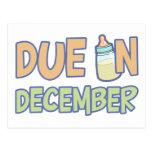 Due In December Postcard
