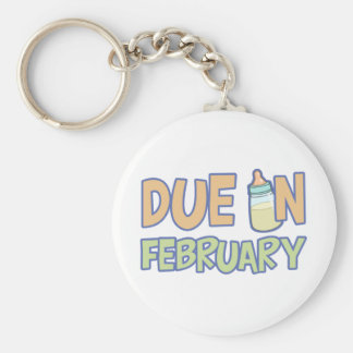Due In February Basic Round Button Keychain