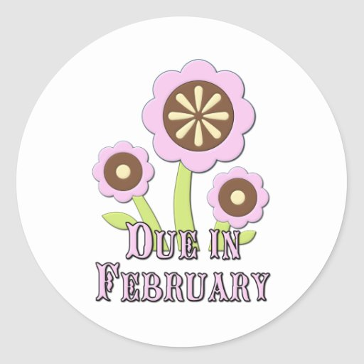Due in February Expectant Mother Sticker