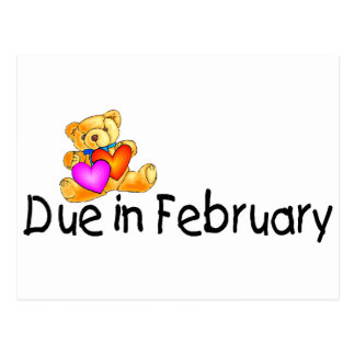 Due In February (Teddy) Postcard