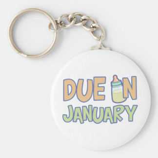 Due In January Basic Round Button Keychain