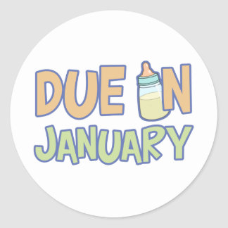Due In January Classic Round Sticker